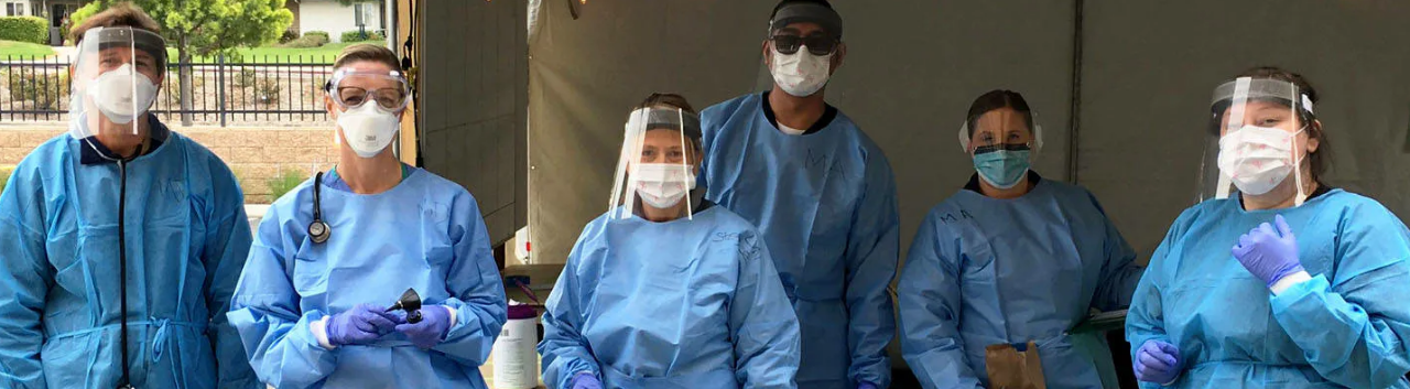 Six caregivers in PPE