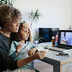 Mom and daughter on telehealth visit
