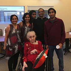 Padma surrounded by her family